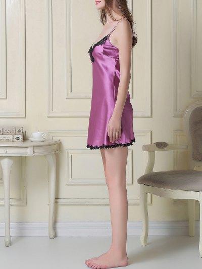Satin Slip Dress and Belted Sleep Robe - PURPLE XL Mobile