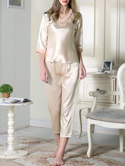 Satin Tee and Capri Pants Pajama - CHAMPAGNE M Mobile