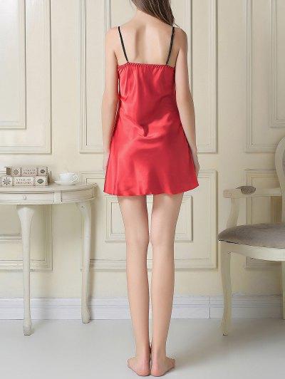 Satin Slip Dress and Sleep Robe - RED L Mobile