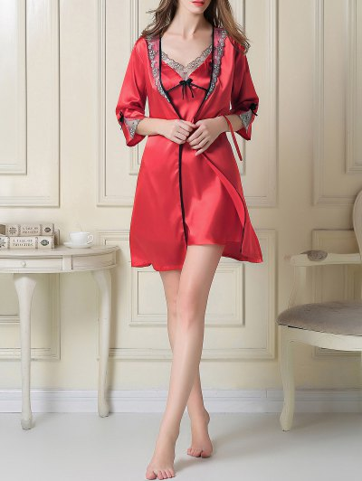 Satin Slip Dress and Sleep Robe - RED XL Mobile