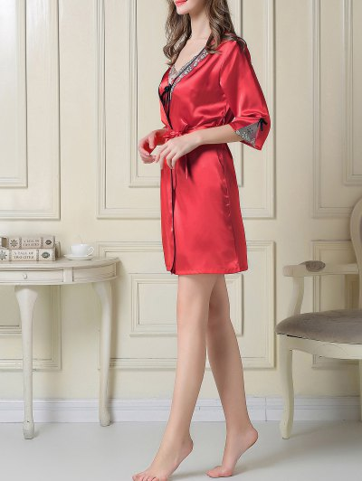 Satin Slip Dress and Sleep Robe - RED 2XL Mobile