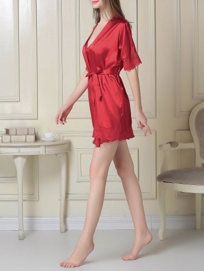Silky Slip Dress and Robe - RED M Mobile