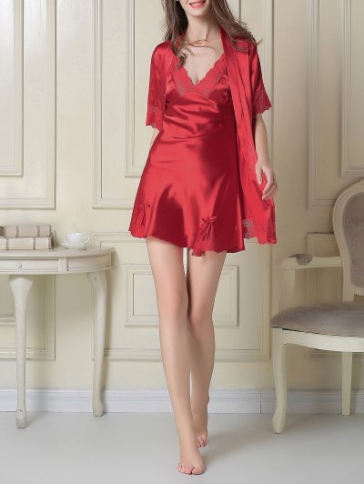 Silky Slip Dress and Robe - RED L Mobile