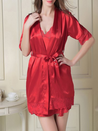 Silky Slip Dress and Robe - RED XL Mobile