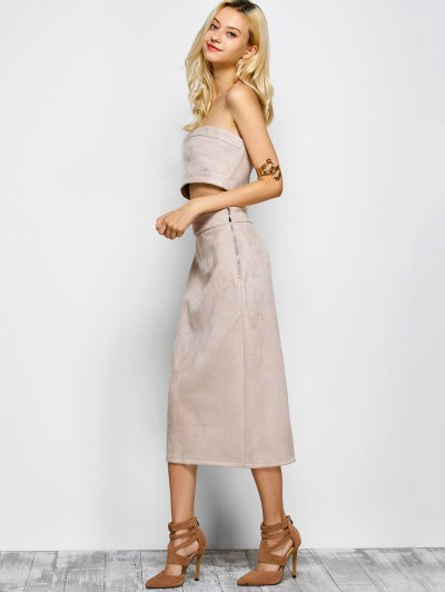 Suede Bodycon Skirt with Tube Top - LIGHT APRICOT PINK L Mobile