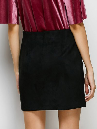 Lace-Up Bodycon Skirt - BLACK M Mobile