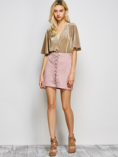Lace-Up Bodycon Skirt - PINK M Mobile