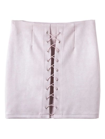 Lace-Up Bodycon Skirt - SHALLOW PINK S Mobile