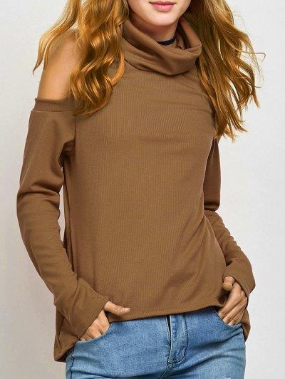 Cold Shoulder Turtle Neck Knitwear - KHAKI M Mobile