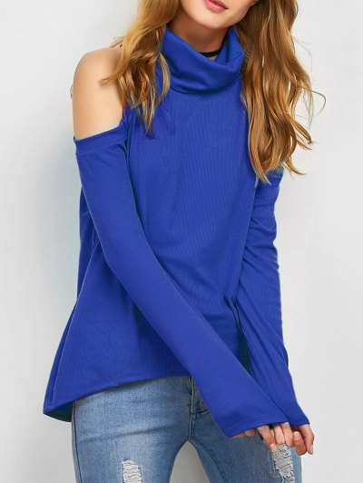 Cold Shoulder Turtle Neck Knitwear - BLUE S Mobile