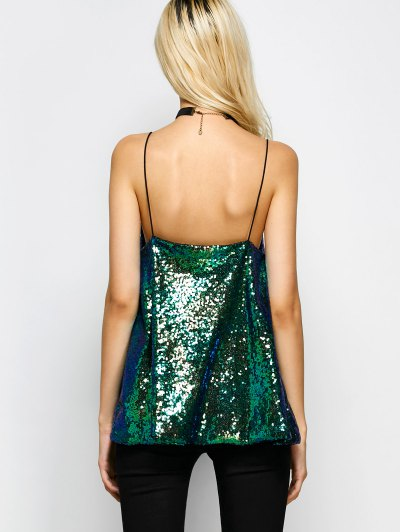 Loose Sequined Tank Top - GREEN XL Mobile