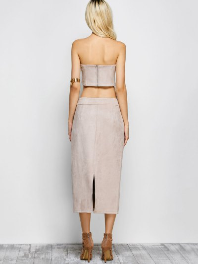 Suede Bodycon Skirt with Tube Top - LIGHT APRICOT PINK S Mobile