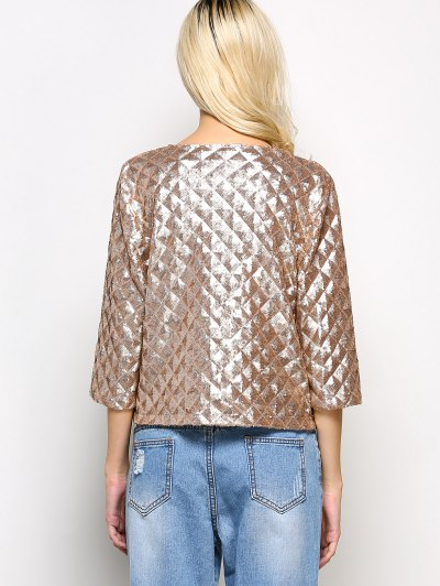 Sequined Open Front Jacket - GOLDEN L Mobile
