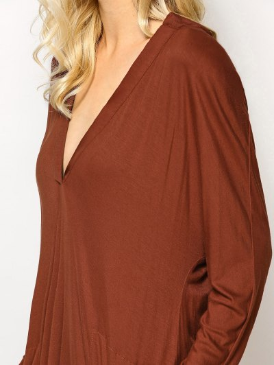 Loose High-Low Dress - BROWN L Mobile