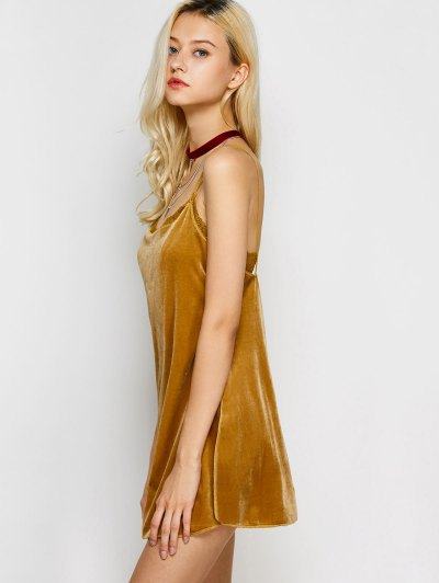 Velour Lace Panel Mini Dress - YELLOW S Mobile