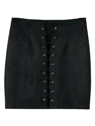 Lace-Up Bodycon Skirt - BLACK S Mobile