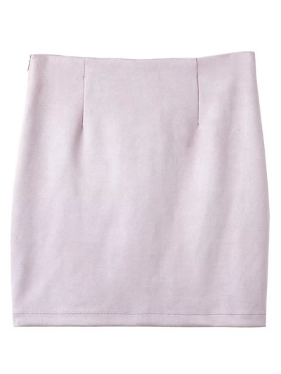Lace-Up Bodycon Skirt - SHALLOW PINK M Mobile
