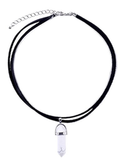 PU Leather Rope Faux Gem Pendant Necklace - WHITE AND BLACK  Mobile