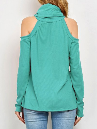 Cold Shoulder Turtle Neck Knitwear - GREEN S Mobile