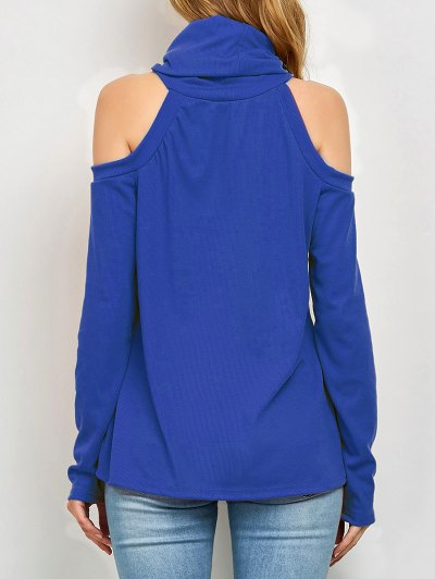 Cold Shoulder Turtle Neck Knitwear - BLUE XL Mobile