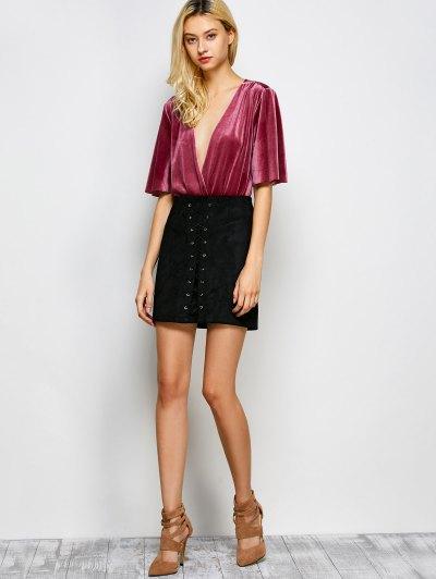 Velour Wrap Bodysuit - WINE RED L Mobile