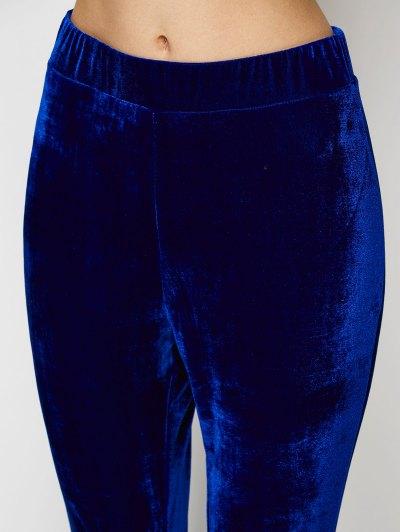 Velvet Flare Pants - BLUE L Mobile
