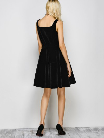 Square Neck Velvet Vintage Dress - BLACK M Mobile