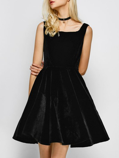 Square Neck Velvet Vintage Dress - BLACK S Mobile