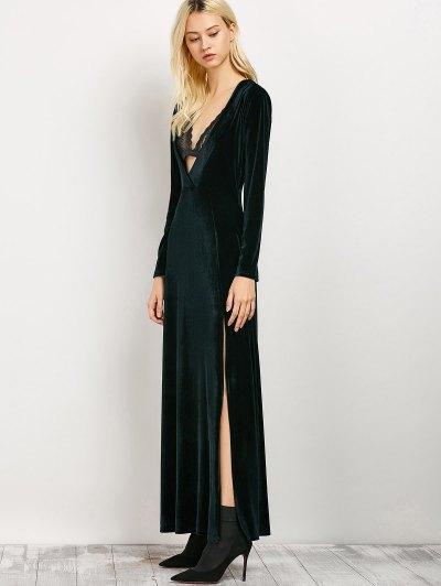 Long Sleeve High Slit Low Cut Dress - BLACKISH GREEN L Mobile