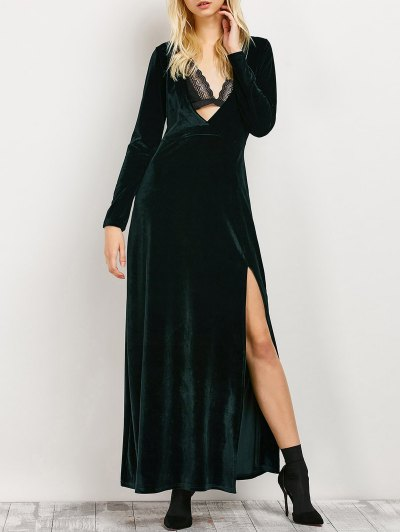 Long Sleeve High Slit Low Cut Maxi Dress - Blackish Green