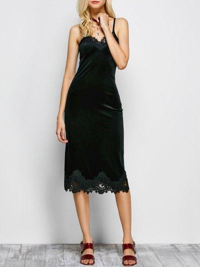 Cami Vestido De Panel De Encaje - Negro S