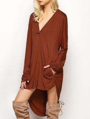 Loose High-Low Dress - Brown