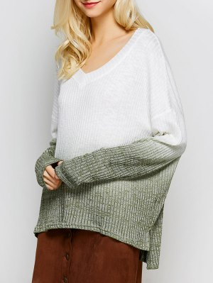 Ombre High-Low Knitwear - White