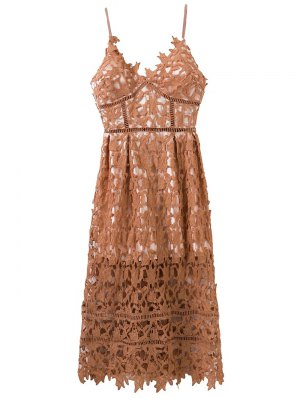 Lace Hollow Out Slip Dress - Light Coffee
