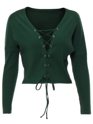 Lace Up Ribbed Cropped Cardigan - Blackish Green