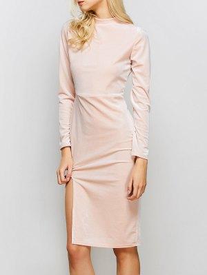 Vintage Velvet Slit Dress - Pink