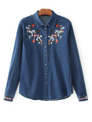 Stretchy Floral Embroidered Jean Shirt - Blue