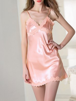 Lace Trim Satin Slip Sleep Dress - Pink