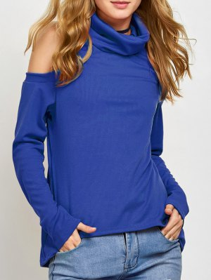 Cold Shoulder Turtle Neck Knitwear - Blue