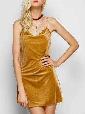 Velour Lace Panel Mini Dress - Yellow