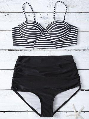 La Alta Cintura Del Bikini De Rayas Conjunto - Negro
