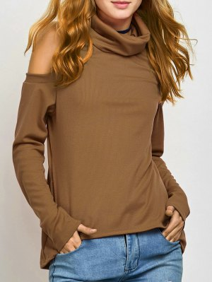 Cold Shoulder Turtle Neck Knitwear - Khaki