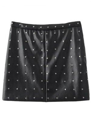PU Leather Rivet A-Line Skirt - Black