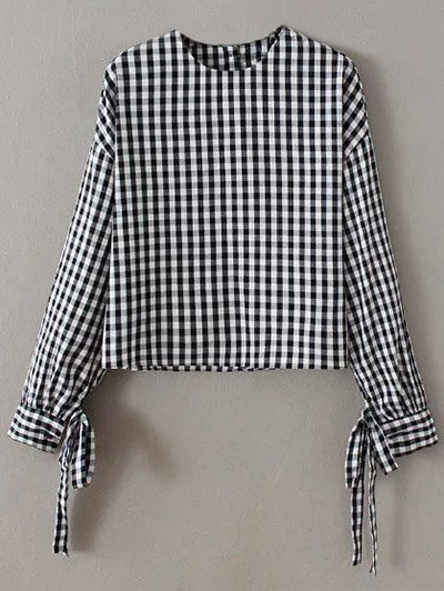 Checked Buttons Loose Blouse