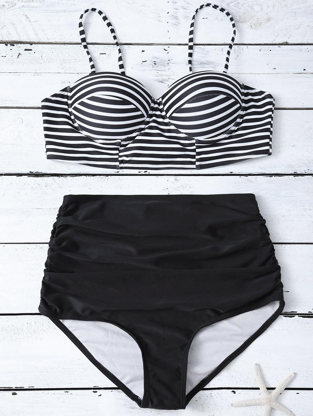 Striped High Waist Bikini Set