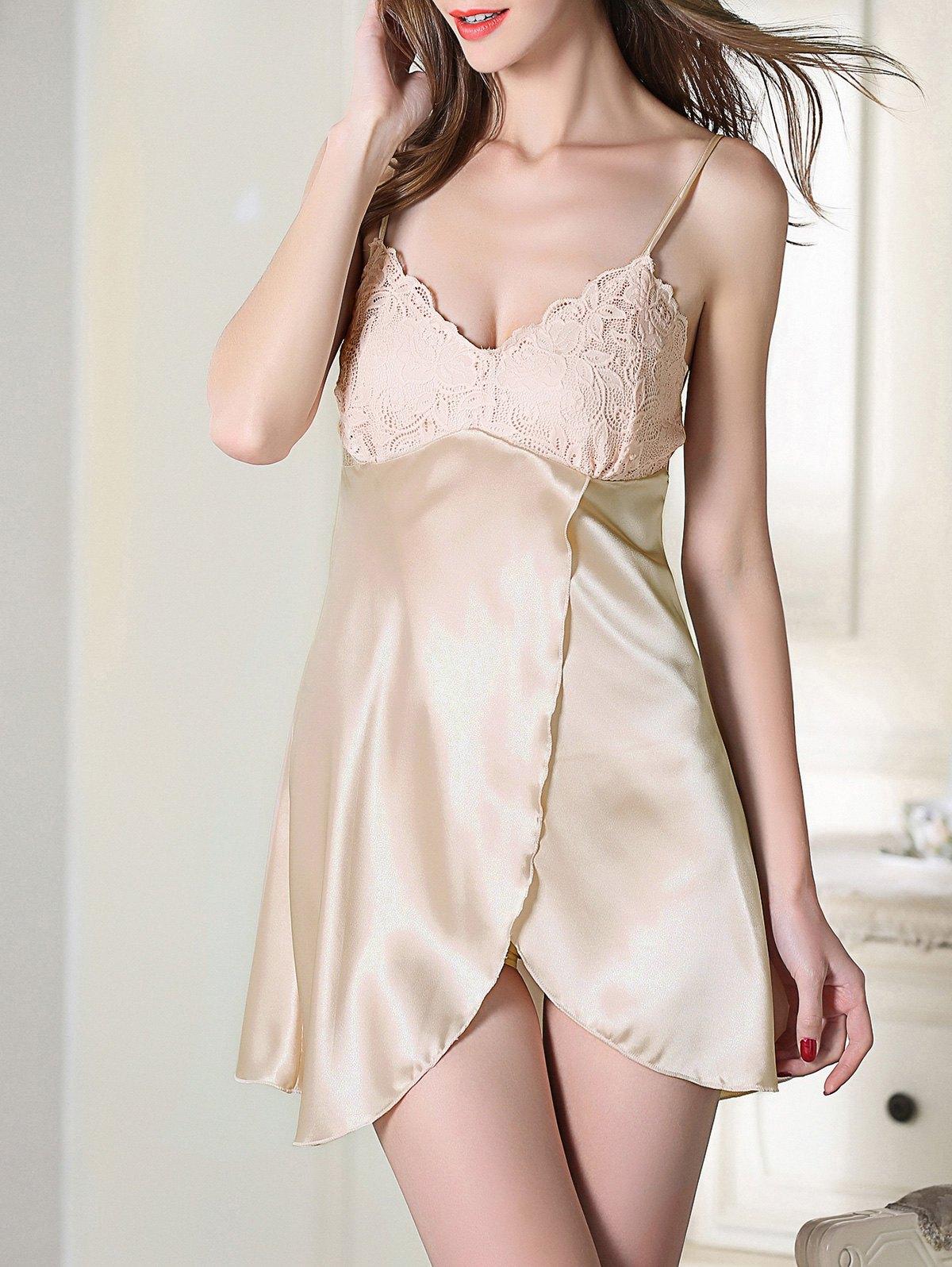 Crossover Hem Satin Slip Sleep Dress