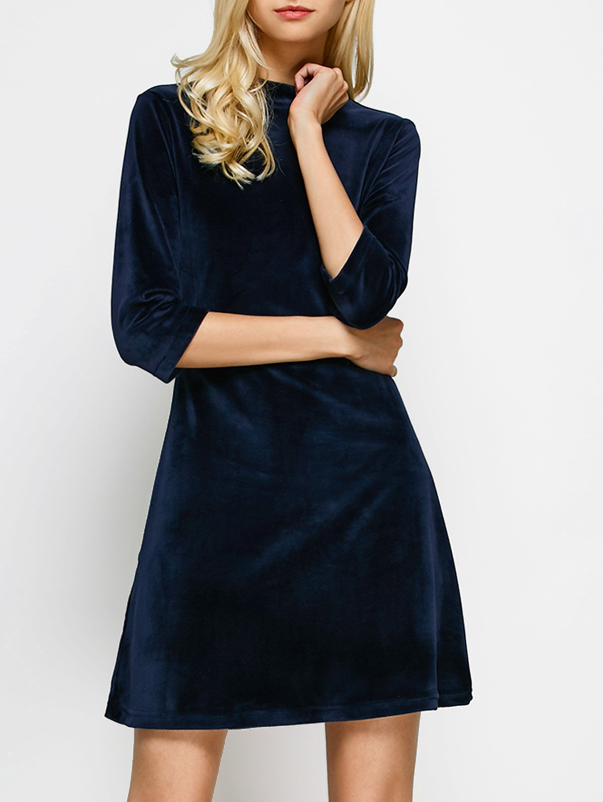 Stand Neck Velour A Line Dress