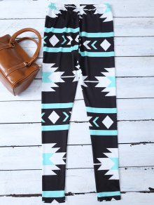 Skinny Geometric Patterned Legging - BLACK M