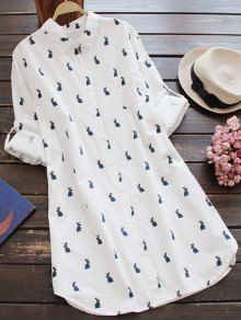 Rabbit Print Long Sleeve Shift Shirt Animal Print Dress