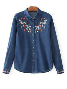 Stretchy Floral Embroidered Jean Shirt